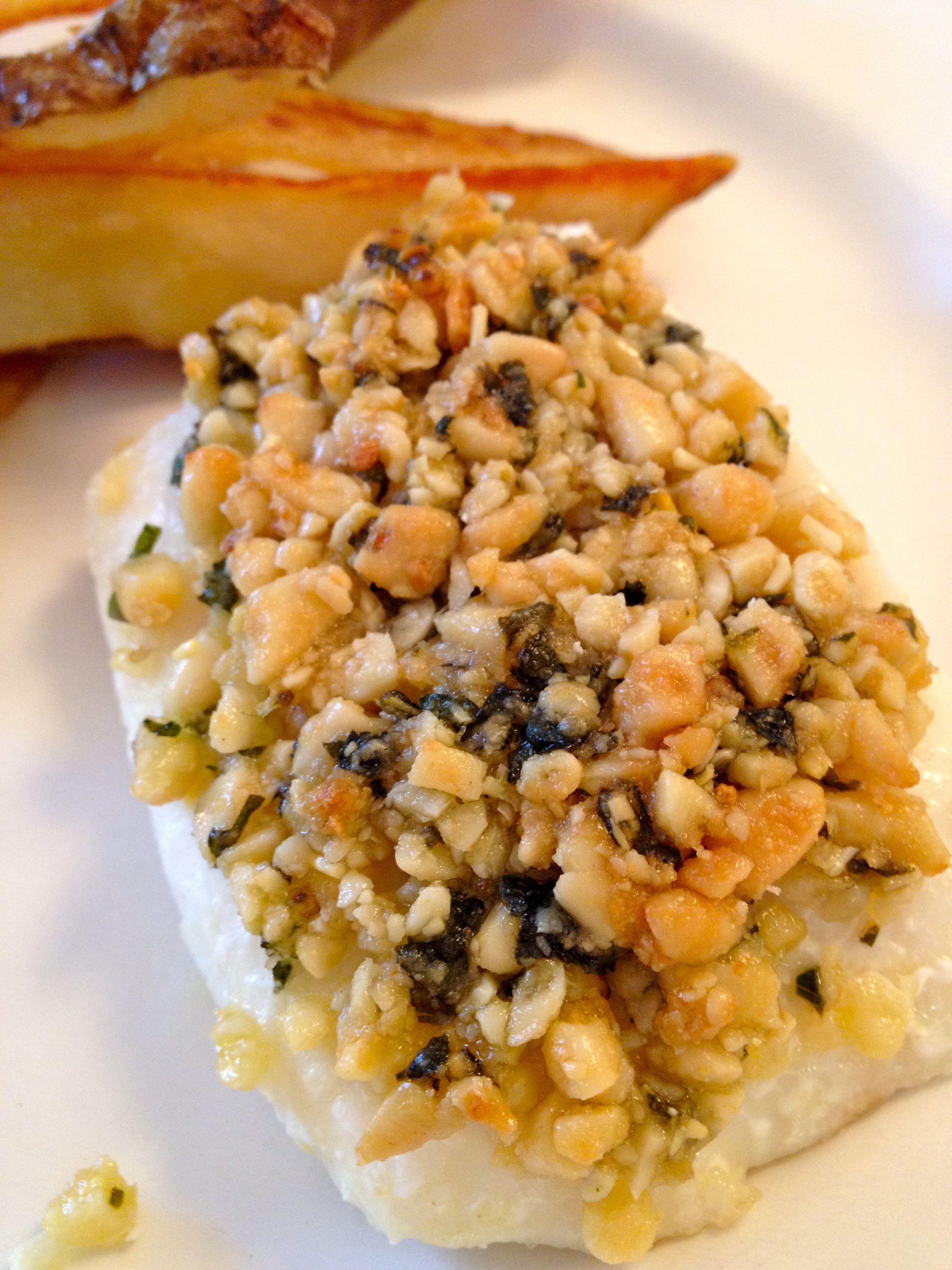 Roasted Halibut With Walnut Crust Recipe — Dishmaps