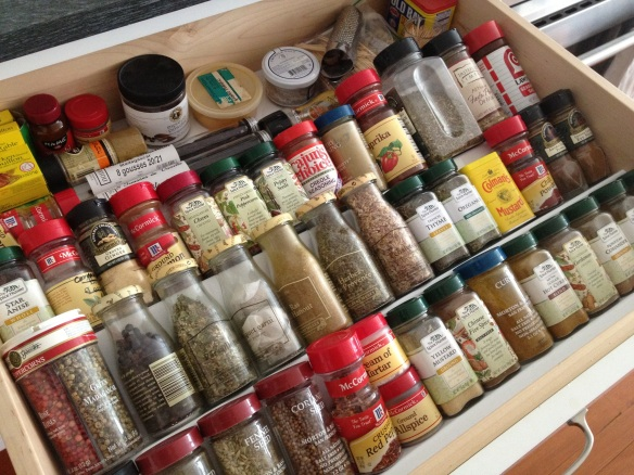 In the running for favorite kitchen feature: the big spice drawer right next to the range.