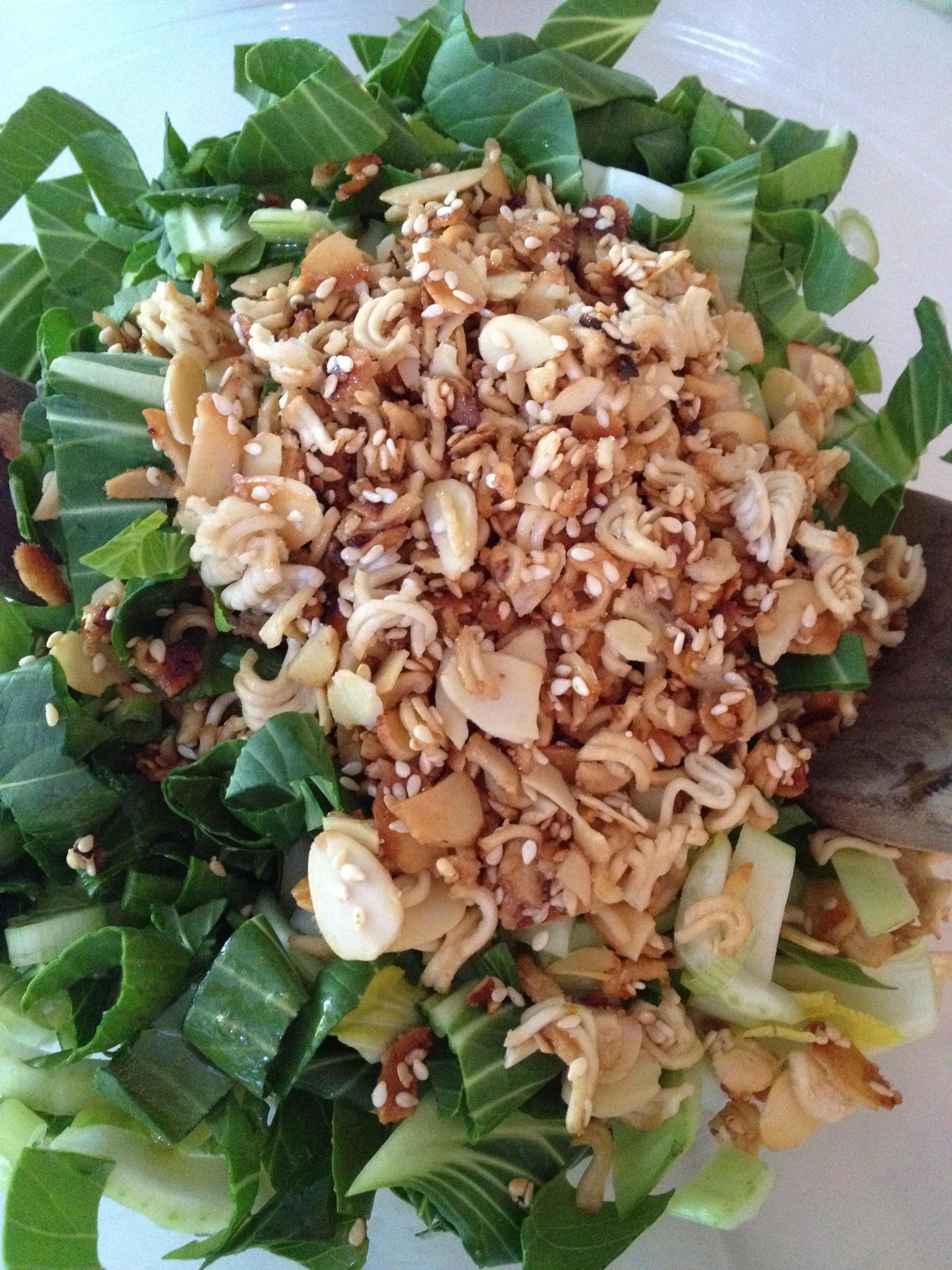 Baby Bok Choy Salad with Almond-Ramen Crunchies | Subee's Kitchen
