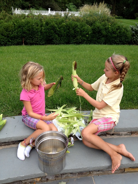 "To make shucking corn easier and less messy, send the kids outside with this ""fun project""."