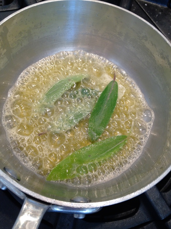 Making crispy sage leaves and brown butter at the same time.