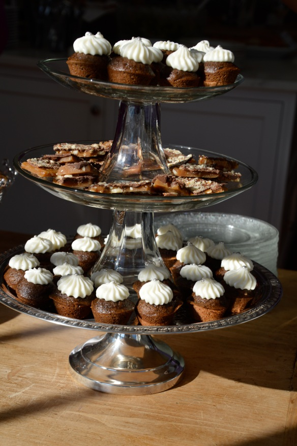 Tower of gingerbread cupcakes and almond toffee.