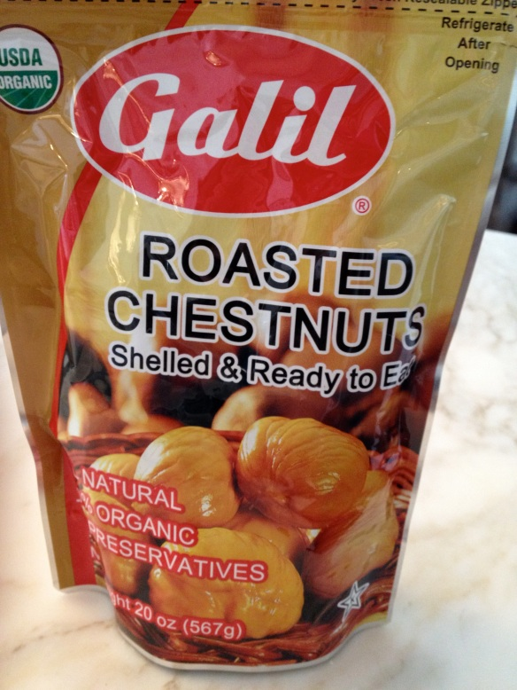 Costco pack of ready to eat chestnuts, which I used for a salad.