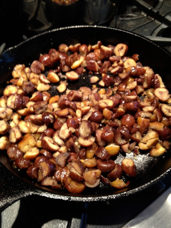 Pan-roasted chestnuts (saute ready-to-eat chestnuts for a few minutes in a little olive oil)