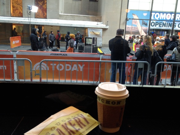 A nice (and warm!) view of the TODAY Show plaza from inside Bouchon Bakery.