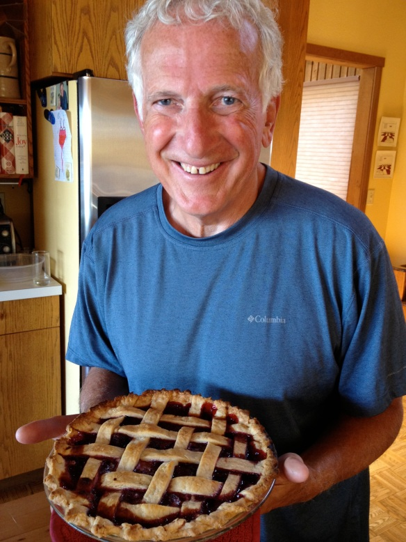 Dad with his lovingly crafted lattice-top pie.