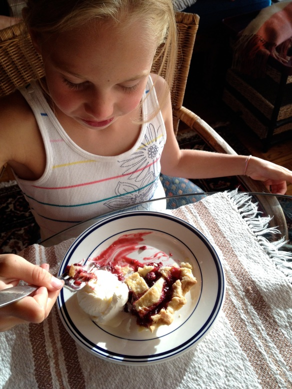 The next generation of blackberry pie fans.