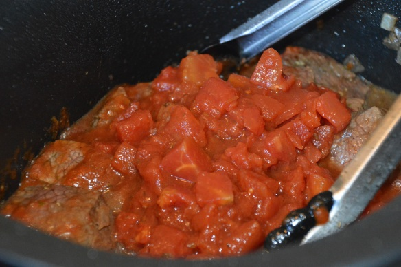 Mix and match 2 cups (+/-) of tomatoes: marinara sauce, tomato puree, canned plum tomatoes