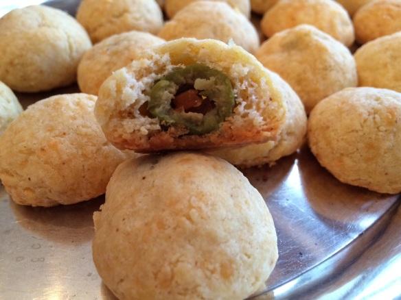 Spicy cheddar olive balls