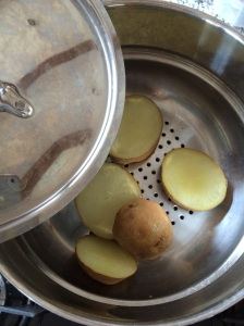 Steaming a potato. Yukon Golds will be a little less grainy than a russet/Idaho potato, but both will work.