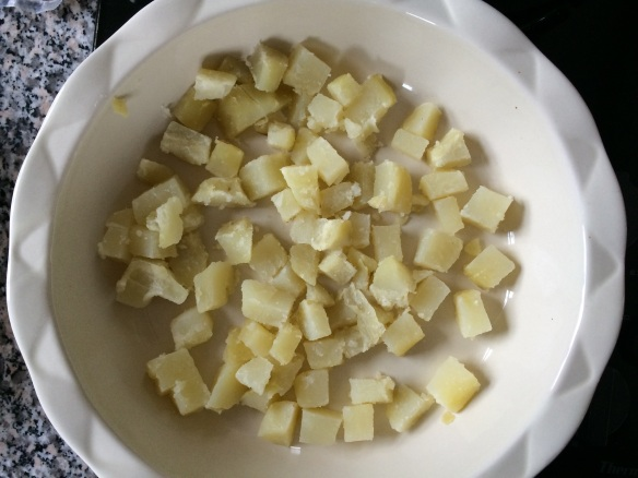 If you don't have a cooked potato on hand, you can steam one quickly if you slice it before cooking. Then slip the peel off afterwards, if desired.
