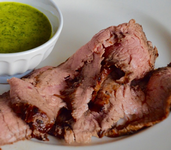 flank steak chimichurri close-up