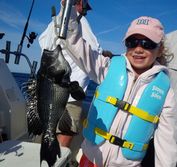 Sophie with a nice sea bass.