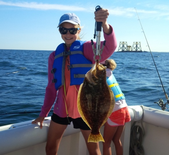 Leah with a flounder-like fluke.