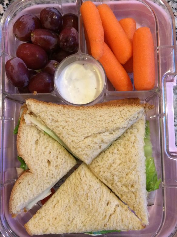 Turkey sandwich with grapes, carrots and ranch dip.